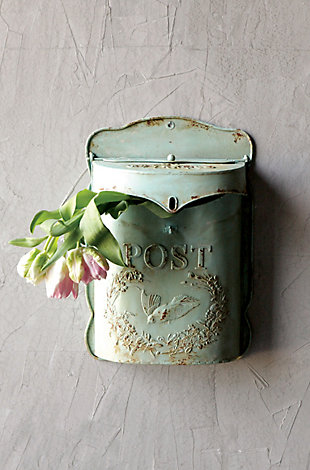 Creative Co-Op Aqua Embossed Tin Post Box with Distressed Finish, , rollover