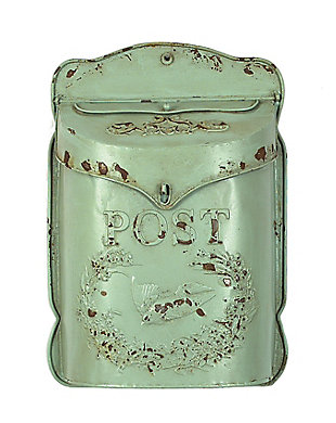 Creative Co-Op Aqua Embossed Tin Post Box with Distressed Finish, , large