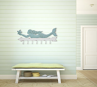Creative Co-Op Aqua and White Metal Mermaid Wall Decor with 7 Hooks, , rollover
