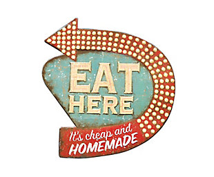 "Creative Co-Op Tin ""Eat Here"" Retro Wall Decor, , large"