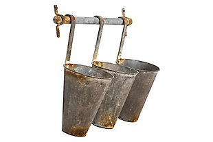 Creative Co-Op Antiqued Metal Wall Rack with 3 Hanging Tin Pots, , large