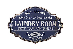 Creative Co-Op Vintage Metal Laundry Room Wall Sign with Distressed Finish, , large