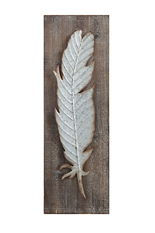 Creative Co-Op Wood Wall Decor with Metal Feather, , large