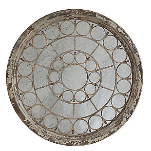 Creative Co-Op Antiqued Round Wood Framed Mirror with Metal Circle Accents, , large