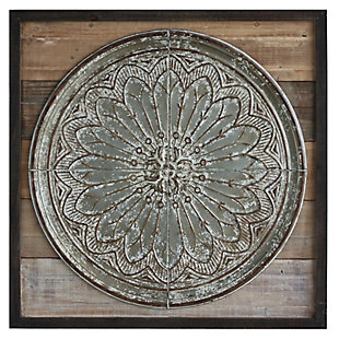 Creative Co-Op Square Wood and Embossed Tin Wall Decor, , large