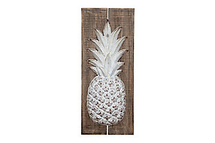 Creative Co-Op Wood and Embossed Metal Pineapple Wall Decor, , large