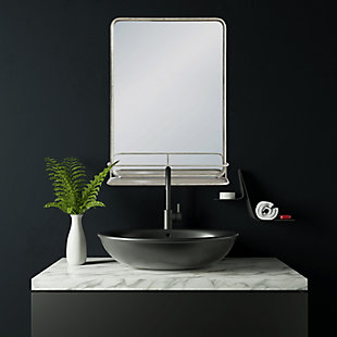 Creative Co-Op Rectangle Wall Mirror with Shelf, , rollover
