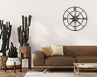 Creative Co-Op Small Decorative White Metal Compass Wall Decor, , rollover