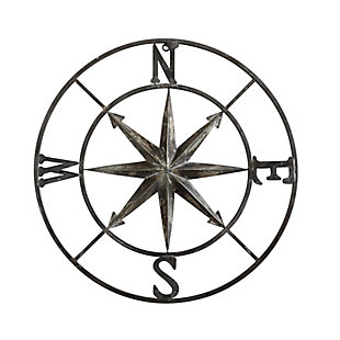Creative Co-Op Small Decorative White Metal Compass Wall Decor, , large