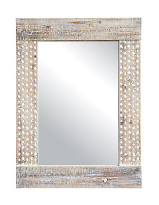 Creative Co-Op Wall Mirror with White Wash Finish, , large