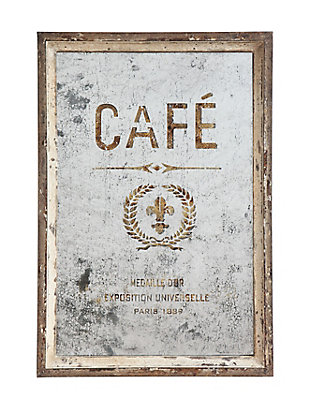 "Creative Co-Op Antiqued ""Cafe"" Wood Framed Mirror, , large"