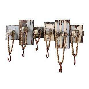 Creative Co-Op Pink and Blue Wood Wall Decor with 7 Ropes and Hooks, , large