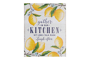 "Creative Co-Op ""Gather in Our Kitchen…"" Wood Wall Decor with Lemons, , large"