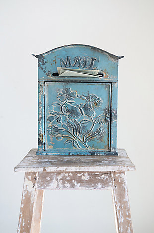 """Creative Co-Op Distressed Blue Embossed Tin """"Mail"""" Box, , rollover"""
