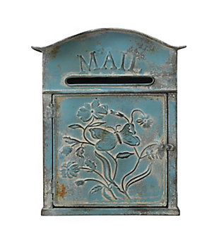 """Creative Co-Op Distressed Blue Embossed Tin """"Mail"""" Box, , large"""