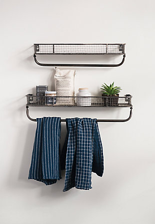 Creative Co-Op Metal Wall Shelves with Hanging Bar (Set of 2 Sizes), , rollover