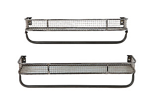 Creative Co-Op Metal Wall Shelves with Hanging Bar (Set of 2 Sizes), , large