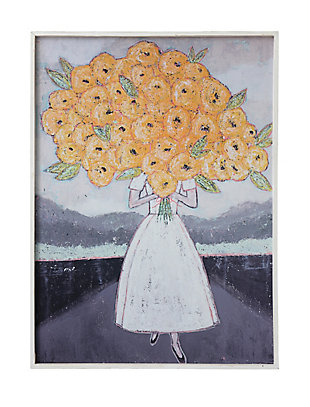 Creative Co-Op Girl Holding Flowers Wood Framed Wall Decor, , rollover