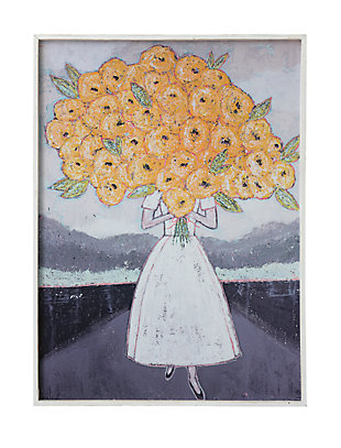 Creative Co-Op Girl Holding Flowers Wood Framed Wall Decor, , large