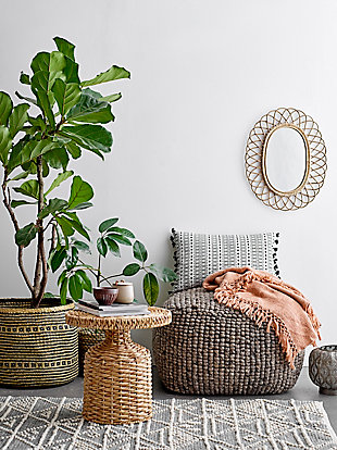 Creative Co-Op Oval Woven Bamboo Wall Mirror, , rollover