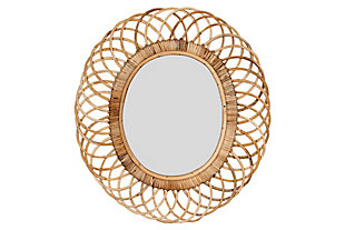 Creative Co-Op Oval Woven Bamboo Wall Mirror, , large