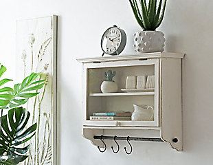 Creative Co-Op Wood and Glass Wall Cabinet with Hooks, , rollover