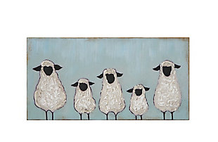 Creative Co-Op Hand Painted Five Sheep Wood Wall Decor, , large