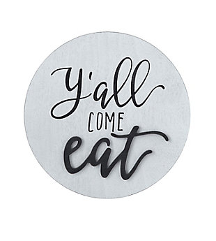 """Creative Co-Op """"Y'all Come Eat"""" Square Pine Wood Wall Decor, , large"""