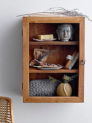 """Creative Co-Op 20""""H Mango Wood Cabinet with 2 Shelves and Glass Door with Hook and Eye Lock (Hangs or Sits), , rollover"""