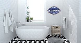 """Creative Co-Op Distressed Blue """"My Aim is to Keep this Bathroom Clean"""" Metal Bathroom Sign, , rollover"""