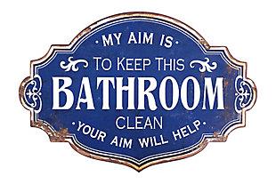 "Creative Co-Op Distressed Blue ""My Aim is to Keep this Bathroom Clean"" Metal Bathroom Sign, , large"