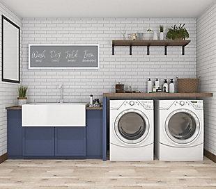 "Creative Co-Op Gray ""Wash ... Fold 'maybe' Iron 'hahaha'"" Wood Framed Wall Decor, , rollover"