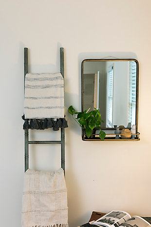 Creative Co-Op Brass Metal Mirror with Shelf, , rollover