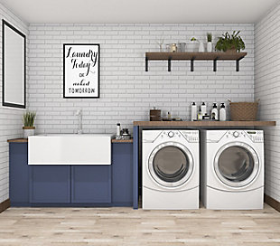 "Creative Co-Op Black and White ""Laundry Today or Naked Tomorrow"" Wood Framed Wall Decor, , rollover"