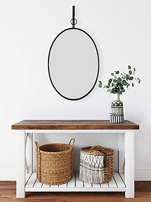 Creative Co-Op Oval Wall Mirror with Distressed Metal Frame and Hanging Bracket (Set of 2 Pieces), , rollover