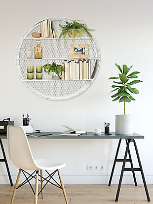 Creative Co-Op Round Metal Wall Decor with 4 Shelves and Wire Back, , rollover