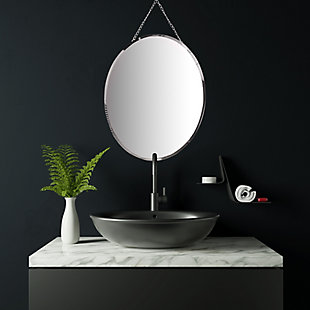 Creative Co-Op Oval Frameless Wall Mirror with Decorative Chain, , rollover
