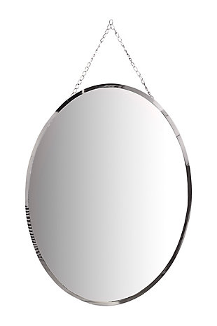 Creative Co-Op Oval Frameless Wall Mirror with Decorative Chain, , large
