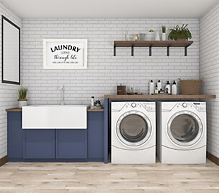 """Creative Co-Op """"Laundry Sorting Through Life One Load at a Time"""" Wood and Glass Wall Decor, , rollover"""
