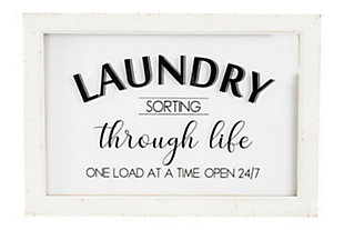 """Creative Co-Op """"Laundry Sorting Through Life One Load at a Time"""" Wood and Glass Wall Decor, , large"""