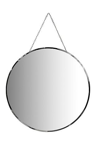 Creative Co-Op Round Frameless Wall Mirror with Decorative Chain, , large
