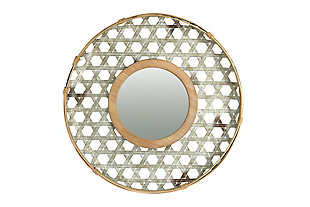 Creative Co-Op Round Metal Wall Mirror with Wood Frame and Galvanized Finish, , large