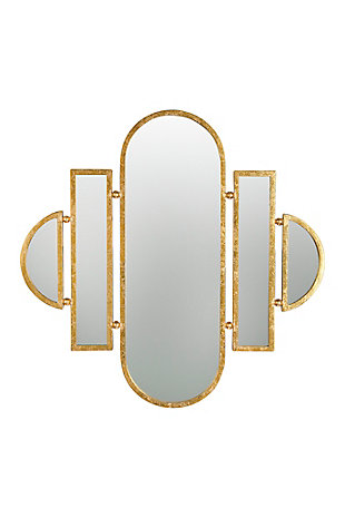 Creative Co-Op Art Deco 5-Part Wall Mirror with Gold Finish, , large