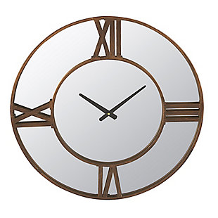 Creative Co-Op Metal Wall Clock Mirror with Antiqued Bronze Finish Trim, , large