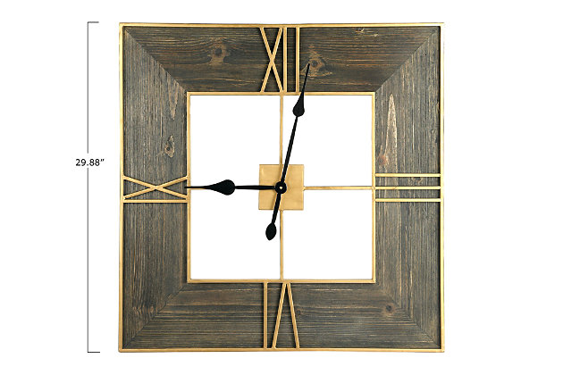 Creative Co-Op 30 Inch Square Wall Clock with Wood Finish and Gold Trim, , large