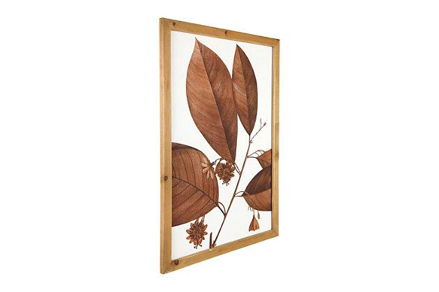 Creative Co-Op Wood Framed Orange Botanical Wall Decor (Set of 4 Designs), , large