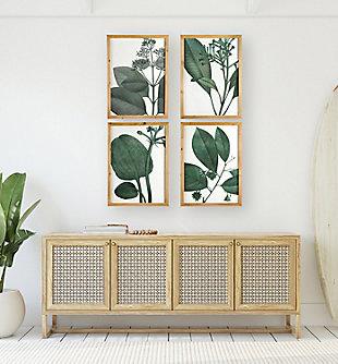 Creative Co-Op Wood Framed Green Botanical Wall Decor (Set of 4 Designs), , rollover