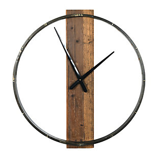 Creative Co-Op 29.5 Inch Metal and Wood Wall Clock, , large
