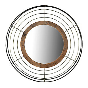 Creative Co-Op Round Wall Mirror with Wood Frame and Metal Wire Surround, , large