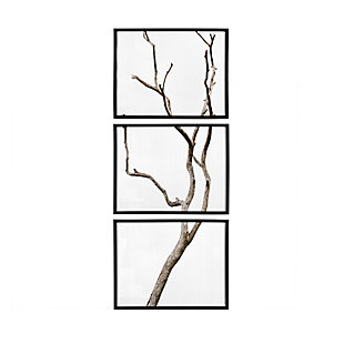 Creative Co-Op Wood Framed Branch Artwork, Black (Set of 3), , large